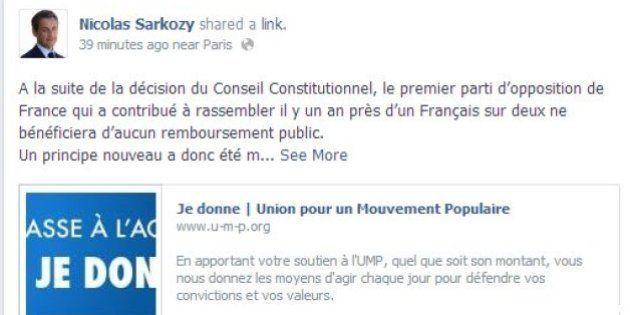 Sarkozy sur Facebook dénonce une