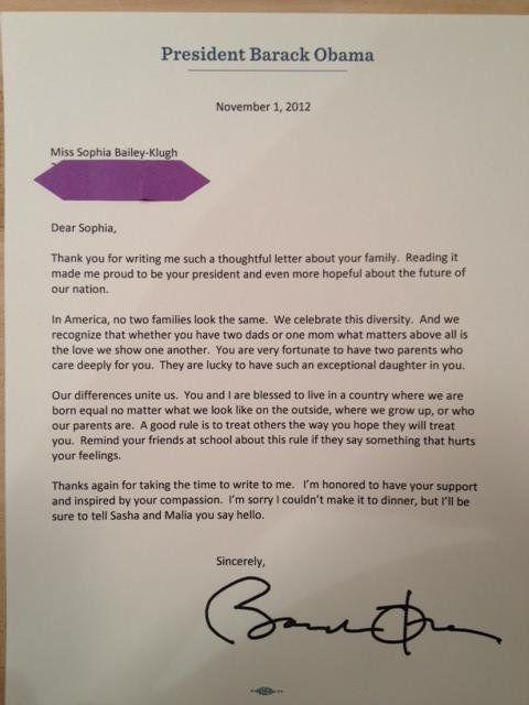 Homophobie : Obama répond à la lettre d'une petite fille élevée par deux