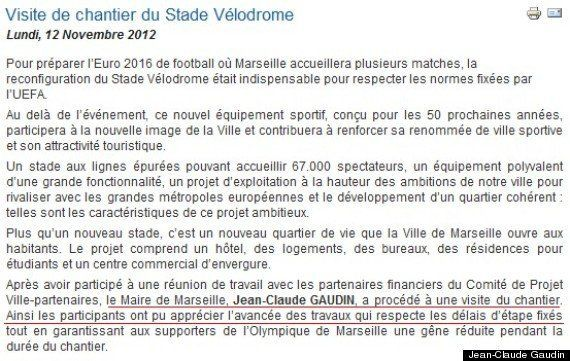 PHOTOS. Marseille: le maire Jean-Claude Gaudin gaffe sur sa visite du stade