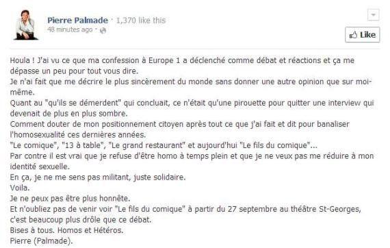 Pierre Palmade explique son