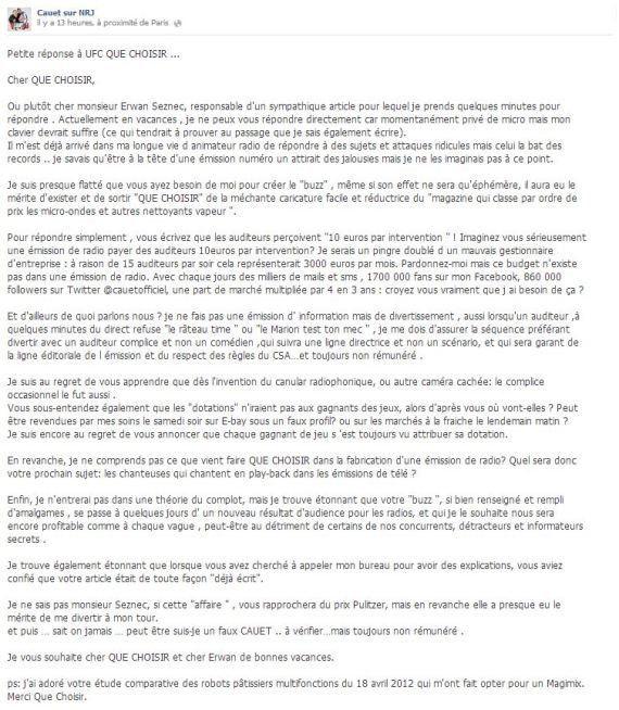 Cauet se défend de bidonner ses émissions sur NRJ, après les accusations de Que