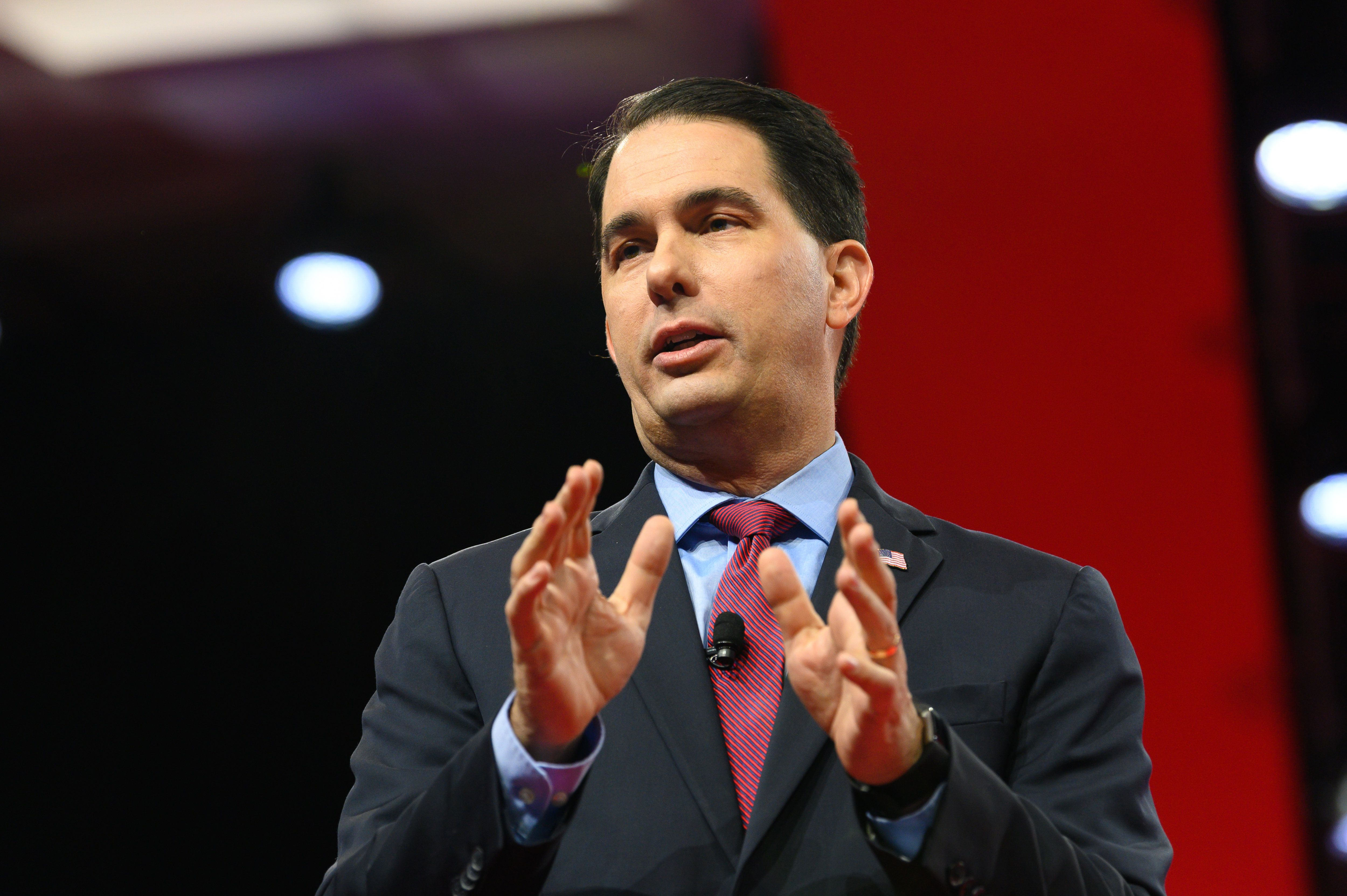 OXON HILL, MD, UNITED STATES - 2019/02/28: Former Wisconsin Governor Scott Walker (R) seen speaking during the American Conservative Union's Conservative Political Action Conference (CPAC) at the Gaylord National Resort & Convention Center in Oxon Hill, MD. (Photo by Michael Brochstein/SOPA Images/LightRocket via Getty Images)