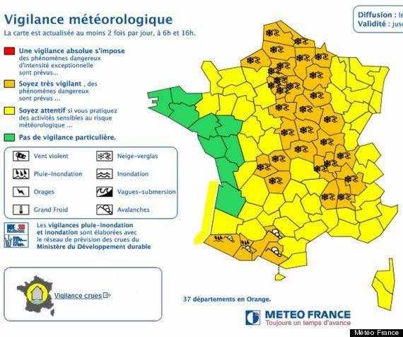 Météo: alerte orange dans 37 départements pour cause de neige et