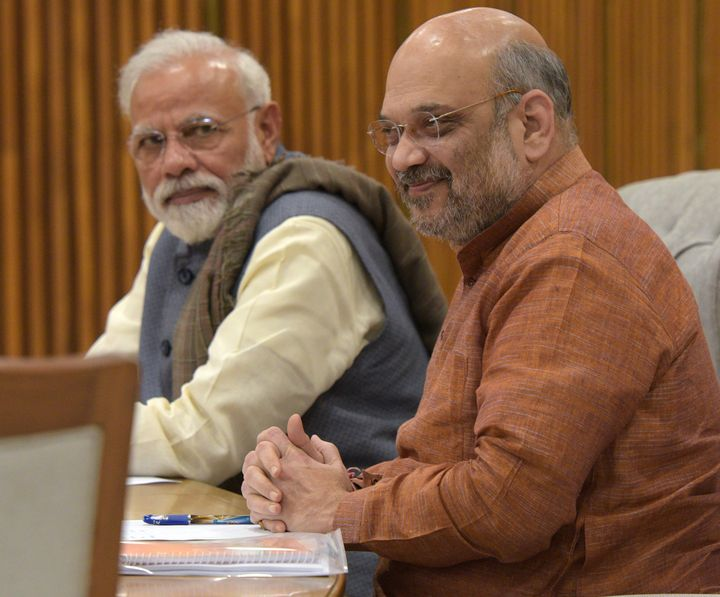 Prime Minister Narendra Modi and BJP President Amit Shah attend the BJP Central Election Committee meeting on March 19, 2019 in New Delhi.