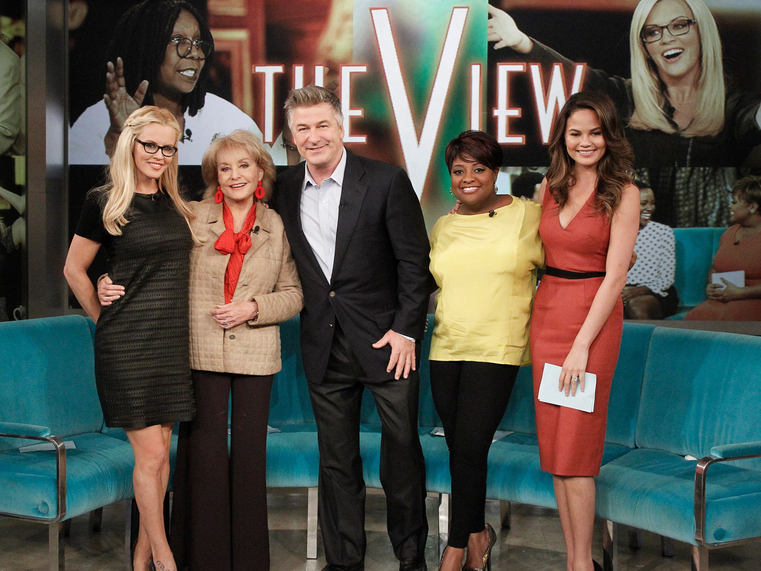 THE VIEW - (airs 10.25.13) Chrissy Teigen is the guest co-host; Guests includeActor Alec Baldwin; Dr. Gadget and in 'Sherri's Comedy Club,' comedian, Anjelah Johnson.  'The View' airs Monday-Friday (11:00 am-12:00 pm, ET) on the ABC Television Network.     (Photo by Lou Rocco/ABC via Getty Images) JENNY MCCARTHY, BARBARA WALTERS, ALEC BALDWIN, SHERRI SHEPHERD, CHRISSY TEIGEN