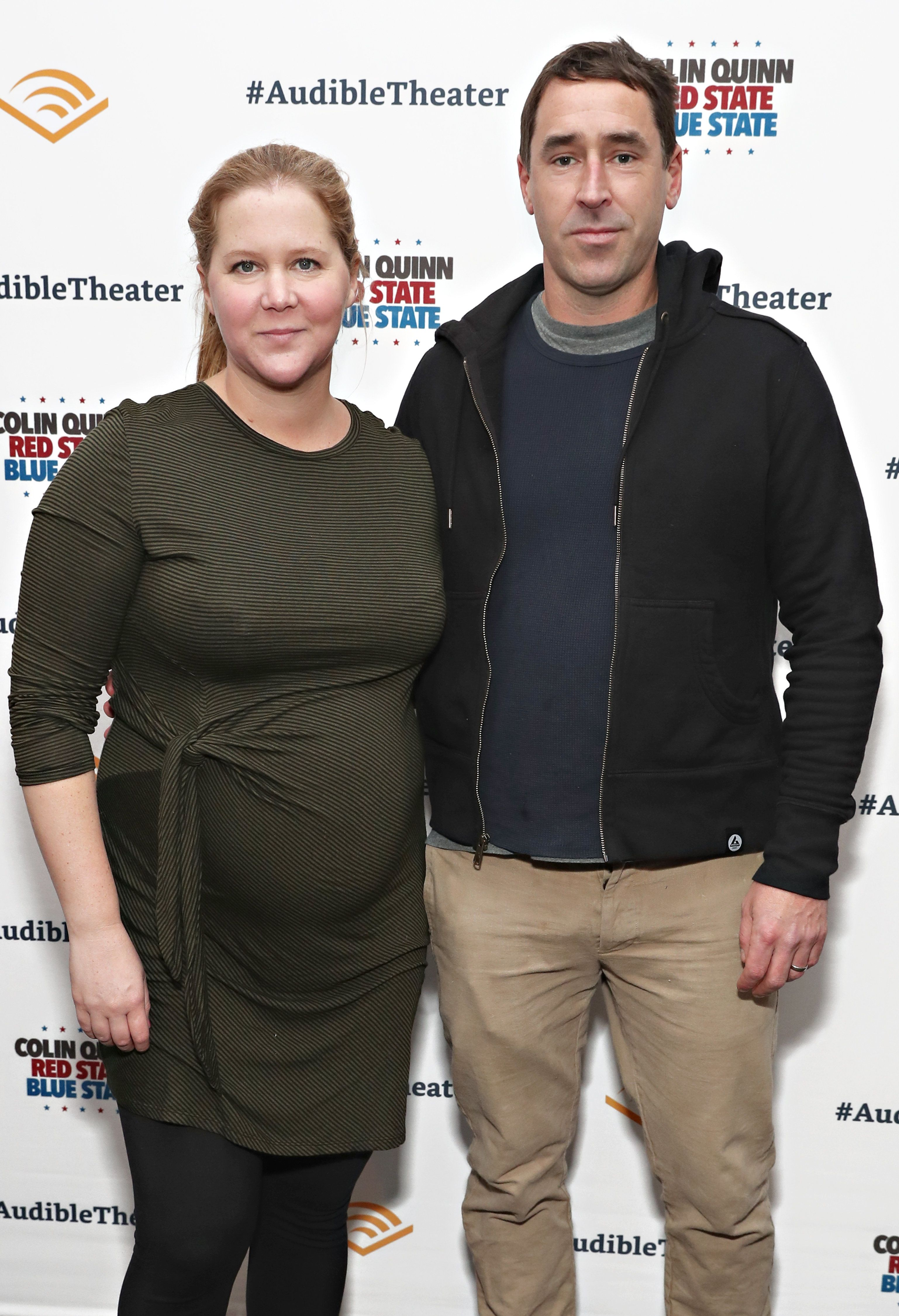 NEW YORK, NY - JANUARY 22:  Amy Schumer and Chris Fischer attend the opening night of 'Colin Quinn: Red State Blue State' at the Minetta Lane Theatre on January 22, 2019 in New York City.  (Photo by Cindy Ord/Getty Images for Red State Blue State)