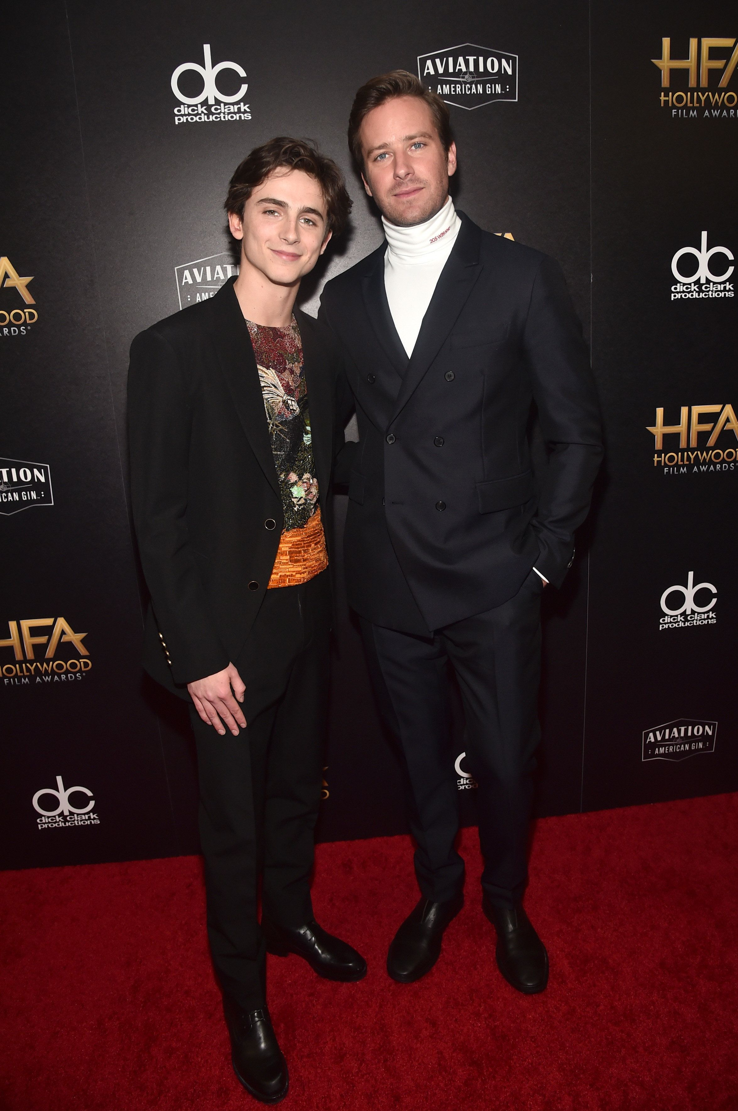 BEVERLY HILLS, CA - NOVEMBER 04:  Timothee Chalamet (L), Hollywood Supporting Actor Award recipient, poses with Armie Hammer in the press room during the 22nd Annual Hollywood Film Awards at The Beverly Hilton Hotel on November 4, 2018 in Beverly Hills, California.  (Photo by Alberto E. Rodriguez/Getty Images for HFA)