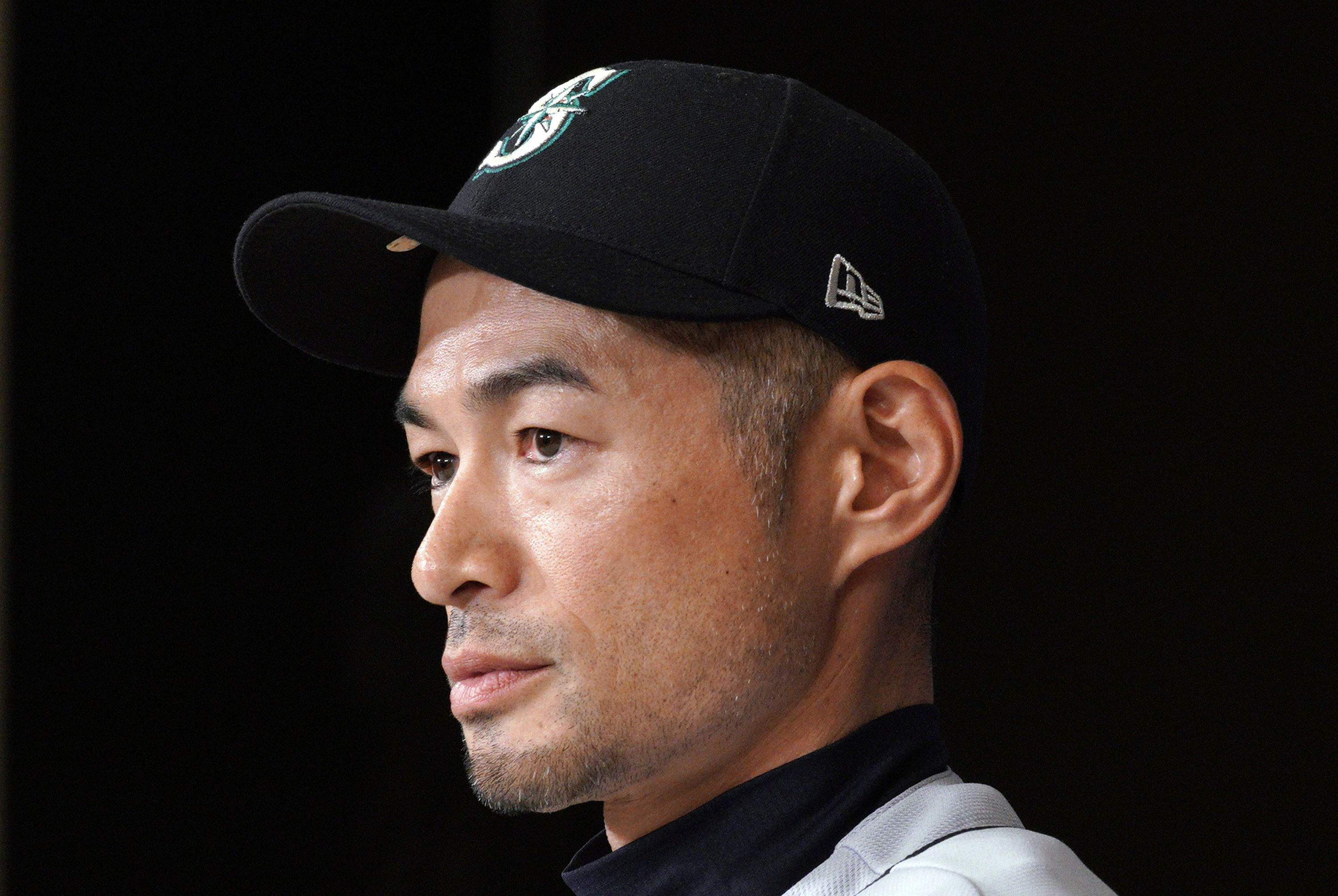 Seattle Mariners right fielder Ichiro Suzuki announces his retirement during a press conference after Game 2 of the Major League baseball opening series between the Mariners and the Oakland Athletics in Tokyo Friday, March 22, 2019. (AP Photo/Eugene Hoshiko)
