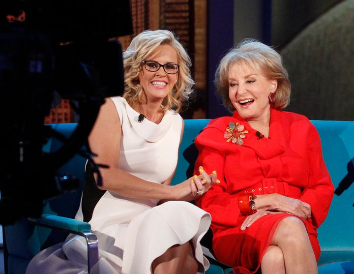 "Jenny McCarthy and Barbara Walters during Season 17 of ""The View."""