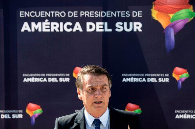 O presidente Jair Bolsonaro ao chegar ao