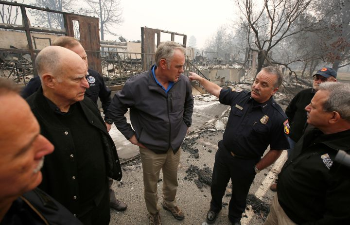Ryan Zinke tours fire-ravaged Paradise, California, in November.