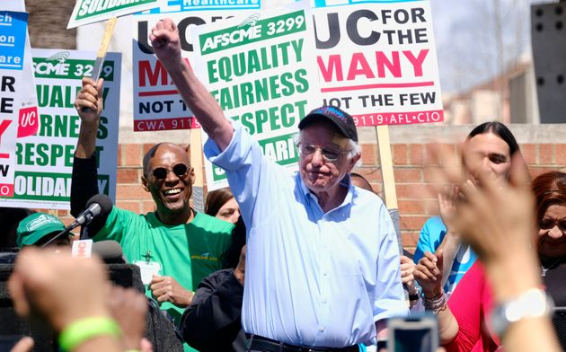 Sanders greets workers at a rally at UCLA on March 20. He and O'Rourke share a knack for small-dollar