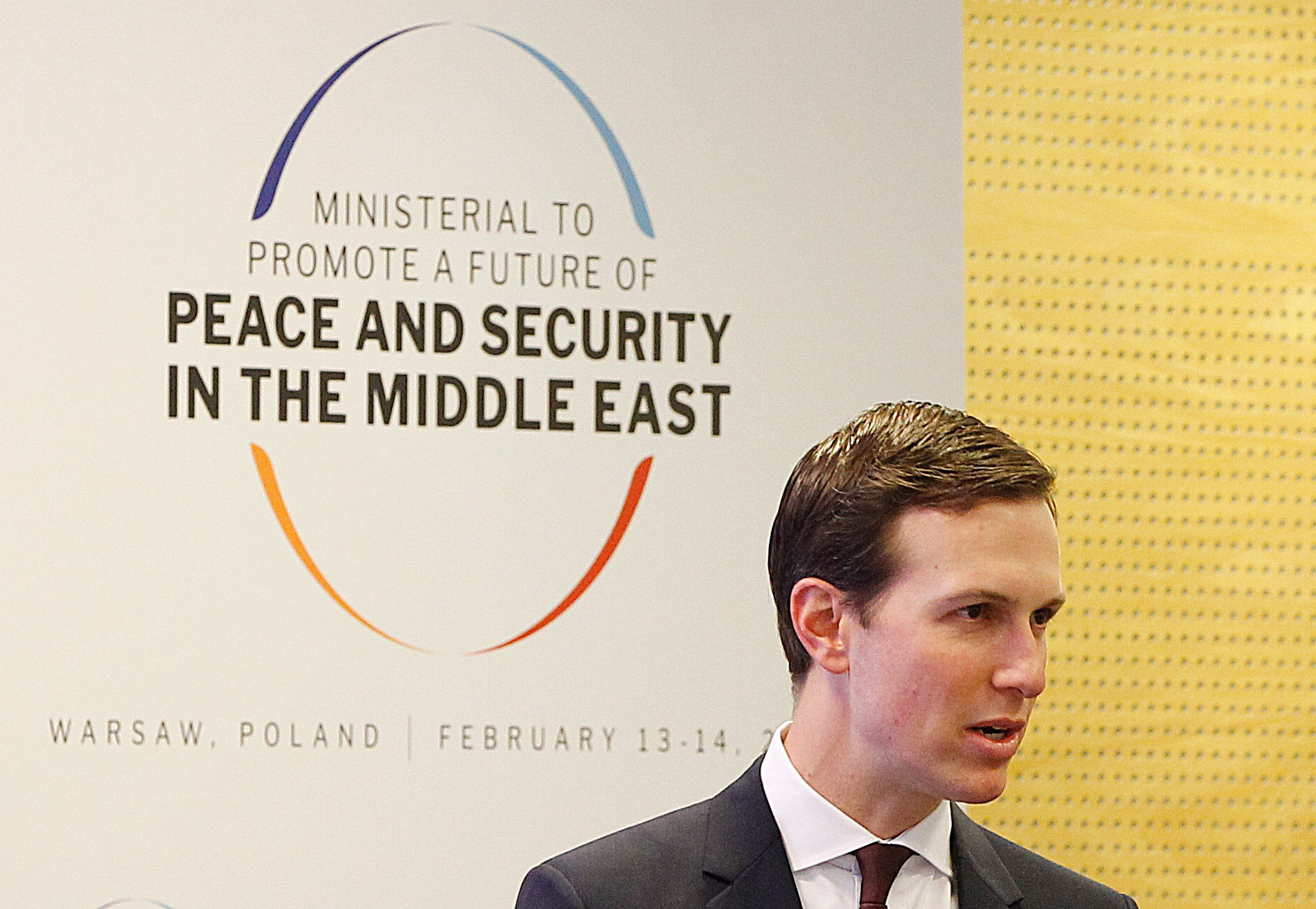 White House Senior Adviser Jared Kushner attends at a conference on Peace and Security in the Middle East in Warsaw, Poland, Thursday, Feb. 14, 2019. The Polish capital is host for a two-day international conference, co-organized by Poland and the United States. (AP Photo/Czarek Sokolowski)