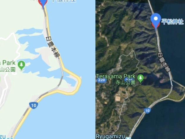 鹿児島県の地図では、航空写真(右)では山があるはずの部分に、マップ表示にすると湖が出現する