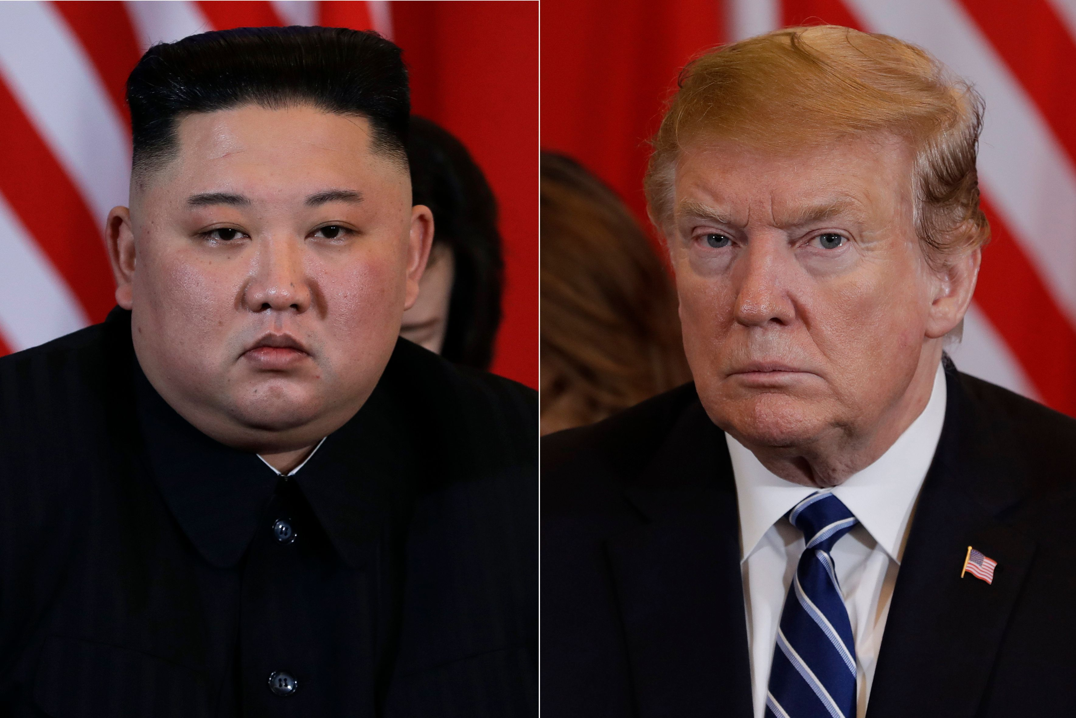 In this combination of images. North Korean leader Kim Jong Un, left, and President Donald Trump during their meeting Thursday, Feb. 28, 2019, in Hanoi. (AP Photo/Evan Vucci)