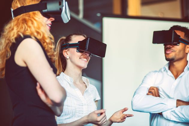 Business team with virtual reality goggle,