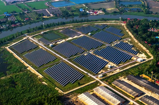 Solar farm, solar panels from the