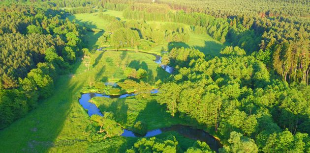 Aerial view of river valley in beautiful sunset light, Czech republic,
