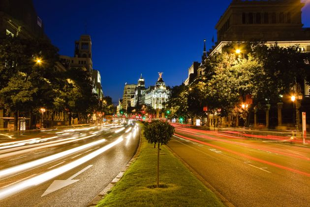 Traffic in night Madrid,