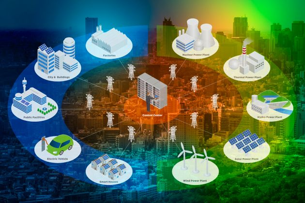 Smart Grid conceptual abstract. Various architectures and applications about renewable energy and modern...