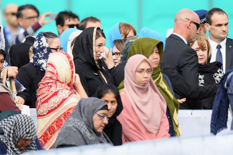 뉴질랜드 크라이스트처치 해글리 공원에서 열린 추모 기도회에 참석한 저신다 아던 총리. 2019년