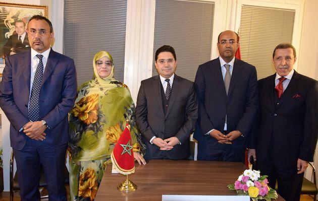 La délégation marocaine comprend Yenja El Khattat,Fatima El Adli,Nasser Bourita,Sidi...