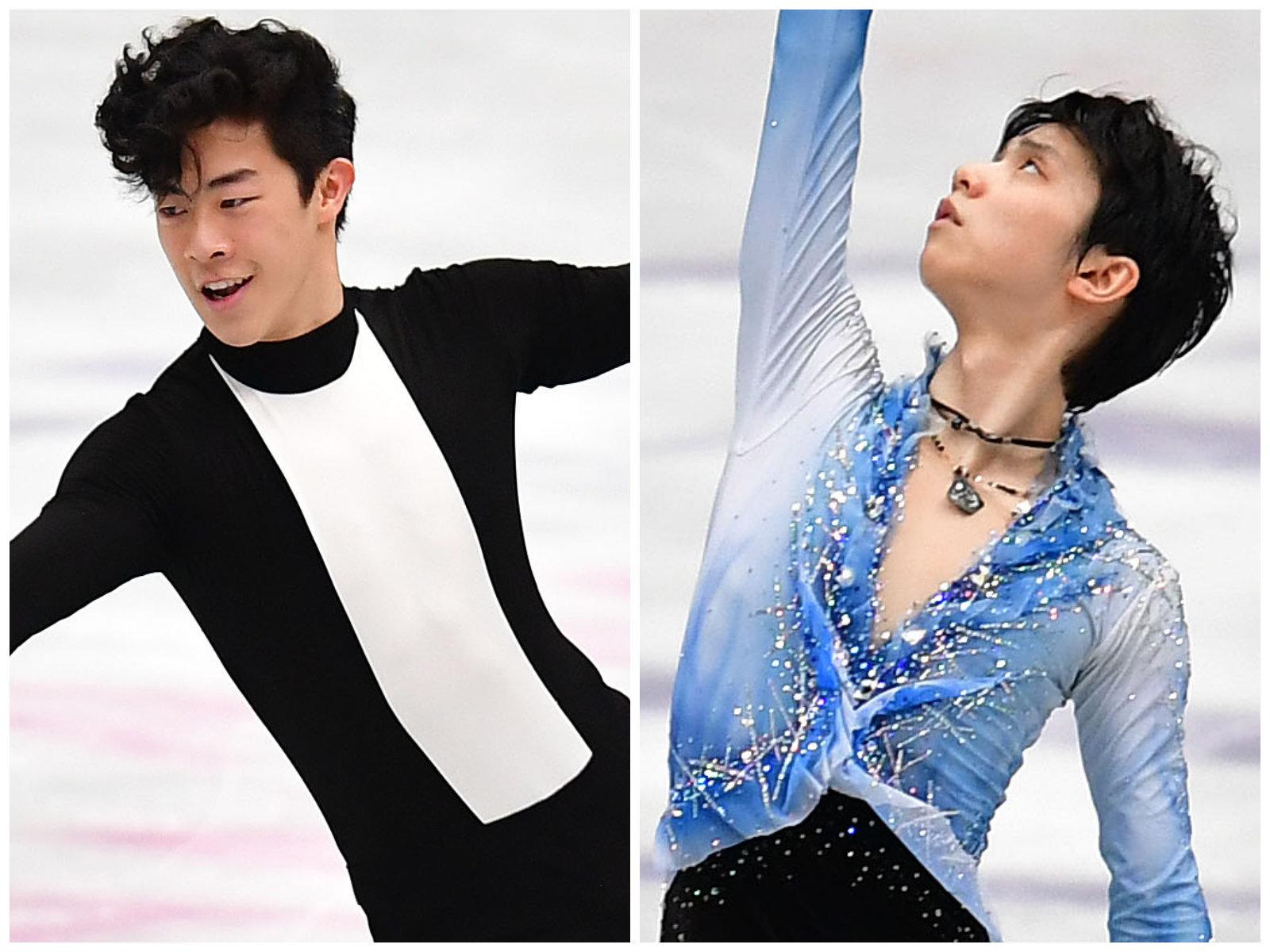ネイサン・チェン(左)と羽生結弦(右)
