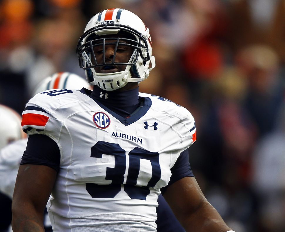 Dee Ford in the college ranks at Auburn, when the first mistaken tweets began to fly