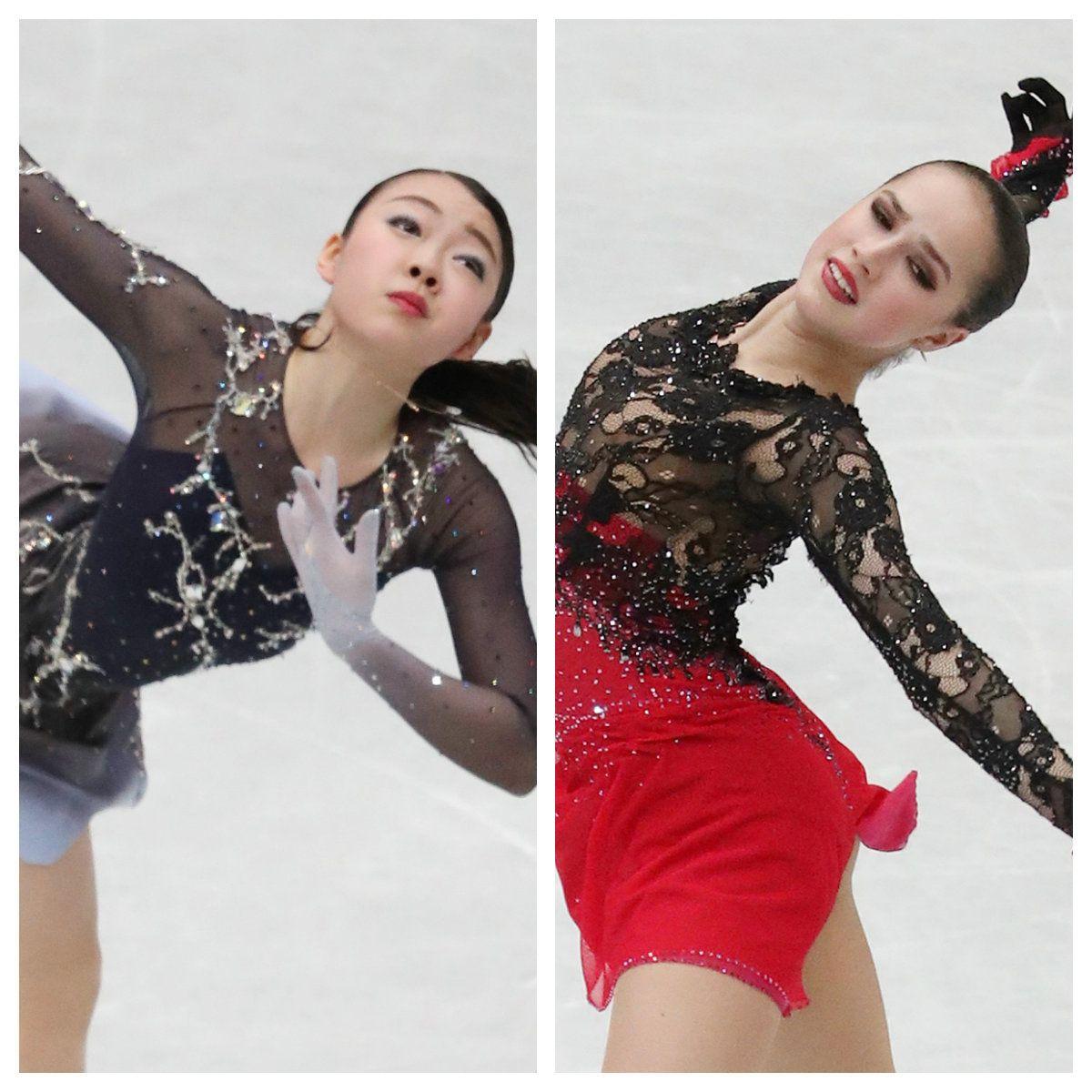 紀平梨花選手(左)とザギトワ選手(右)