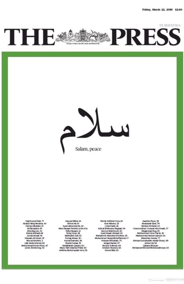 Christchurch Newspaper's Front Page Uses Arabic To Beautifully Honor Victims