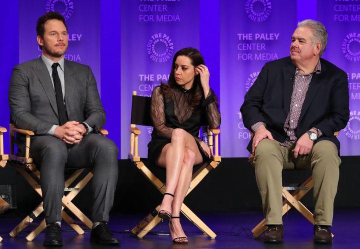 "Chris Pratt, Aubrey Plaza and Jim O'Heir attend PaleyFest's ""Parks And Recreation' 10-year reunion on Thursday."