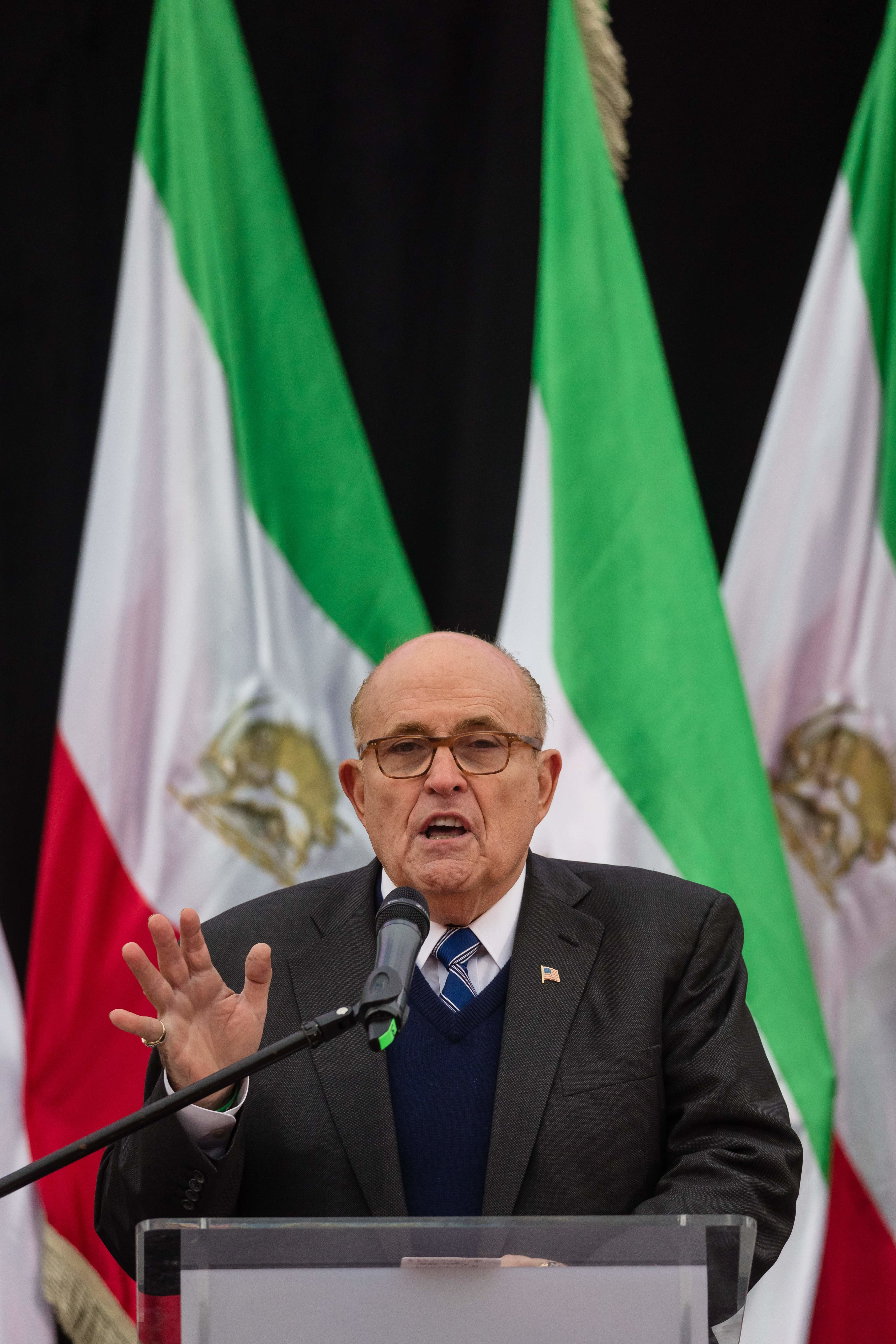 Rudy Giuliani - former mayor of New York City speaks during a rally of supporters of the National Council of Resistance of Iran, demanding tougher policy on Iran and its violation of human rights in Warsaw on February 13, 2019. (Photo by Wojtek RADWANSKI / AFP)        (Photo credit should read WOJTEK RADWANSKI/AFP/Getty Images)