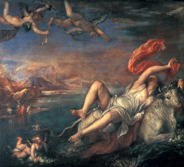 "Titian. 'Rape of Europa.' 1559-62. Oil on canvas. <a rel=""nofollow"" href=""https://commons.wikimedia.org/wiki/File:Tizian_085."