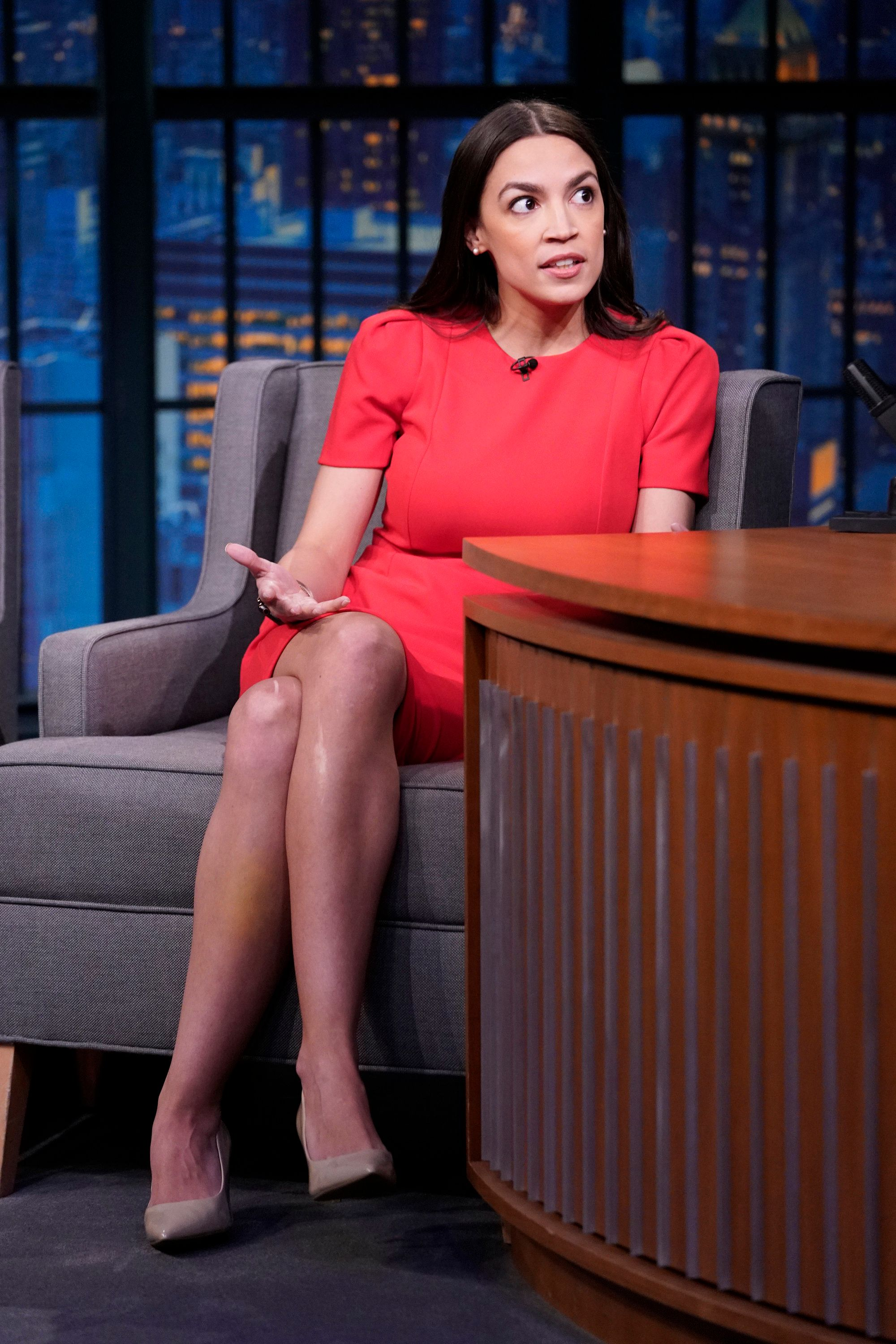 LATE NIGHT WITH SETH MEYERS -- Episode 816 -- Pictured: (l-r) U.S. Rep. Alexandria Ocasio-Cortez during an interview on March 21, 2019 -- (Photo by: Lloyd Bishop/NBC/NBCU Photo Bank via Getty Images)