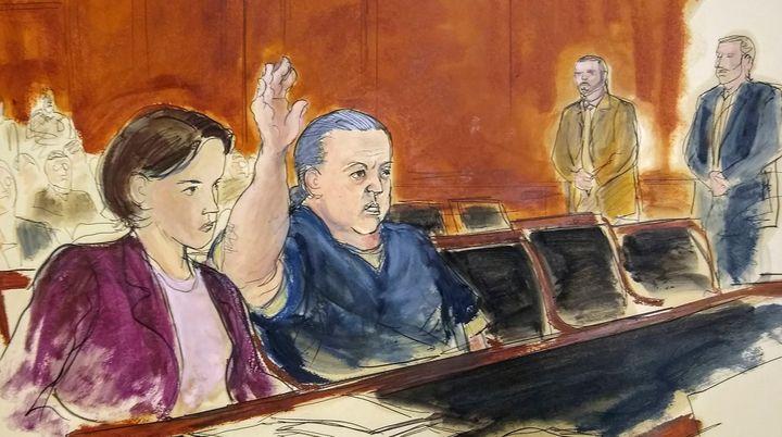 File courtroom sketch of Cesar Sayoc. (AP)