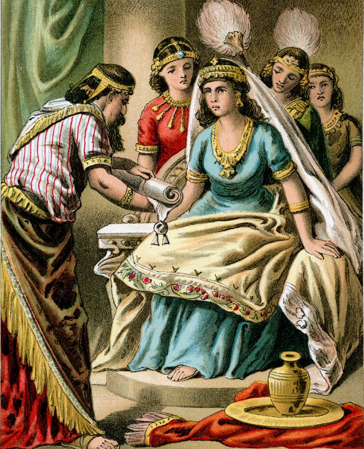 An artistic depiction of Queen Esther in a color lithograph from 1882.