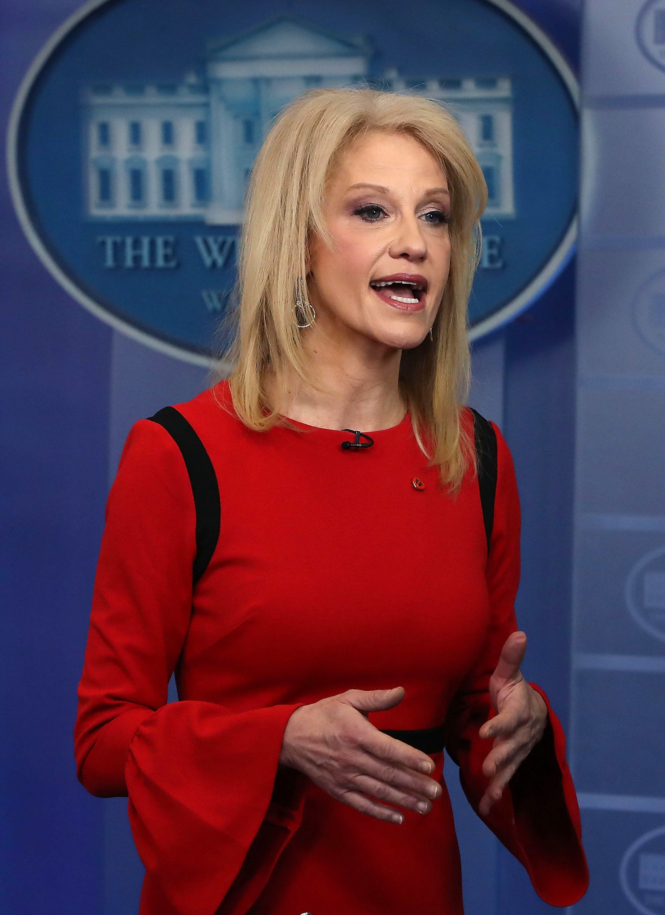 WASHINGTON, DC - MARCH 23: White House counselor Kellyanne Conway speaks during an interview with CNN, in the briefing Room at the White House on March 23, 2018 in Washington, DC.  (Photo by Mark Wilson/Getty Images)