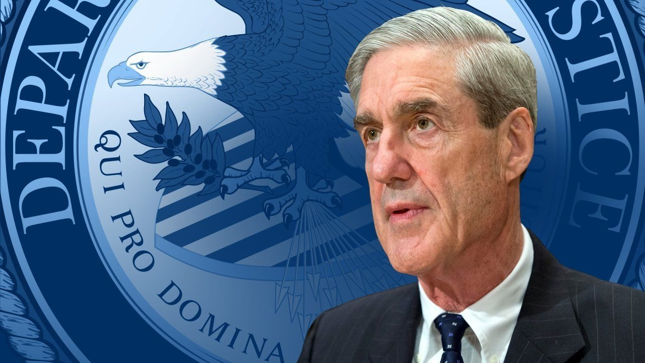 Robert Mueller headshot, over US Department of Justice logo, partial graphic