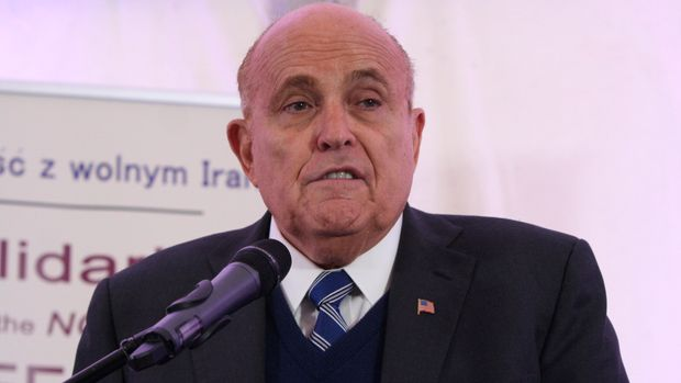 Warsaw, Poland, 13/02/2019 - A press briefing held prior to the rally of the Iranian community in Europe on the prospects for establishing a sustainable and lasting peace in the Middle East and the Iranian regime's destructive role in that region of the world. Rudy Giuliani, former Mayor of New York City, in this briefing said, a group of youths with ropes around their necks represented those executed by the theocracy during forty years of religious dictatorship in the country.  (Photo by Siavosh Hosseini/NurPhoto via Getty Images)