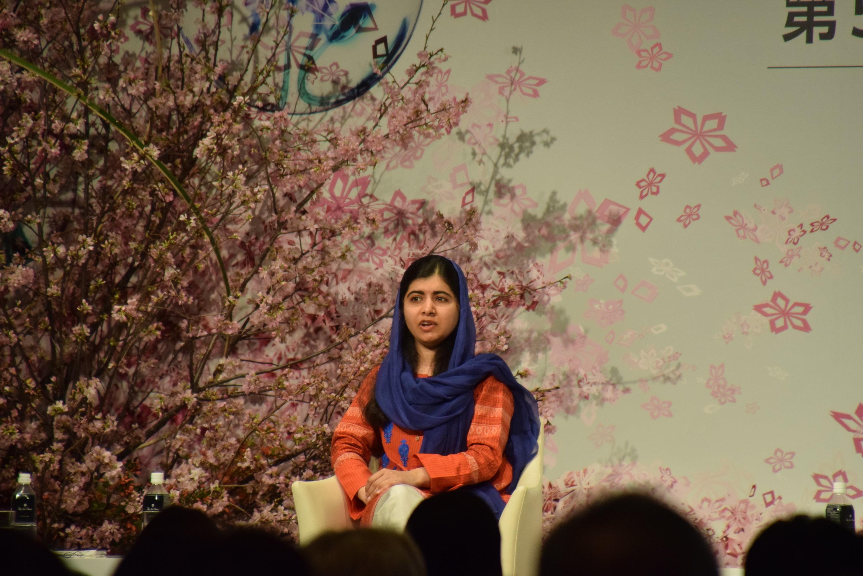 マララさん=ホテルニューオータニで2019年3月23日、国際女性会議のパネルディスカッション