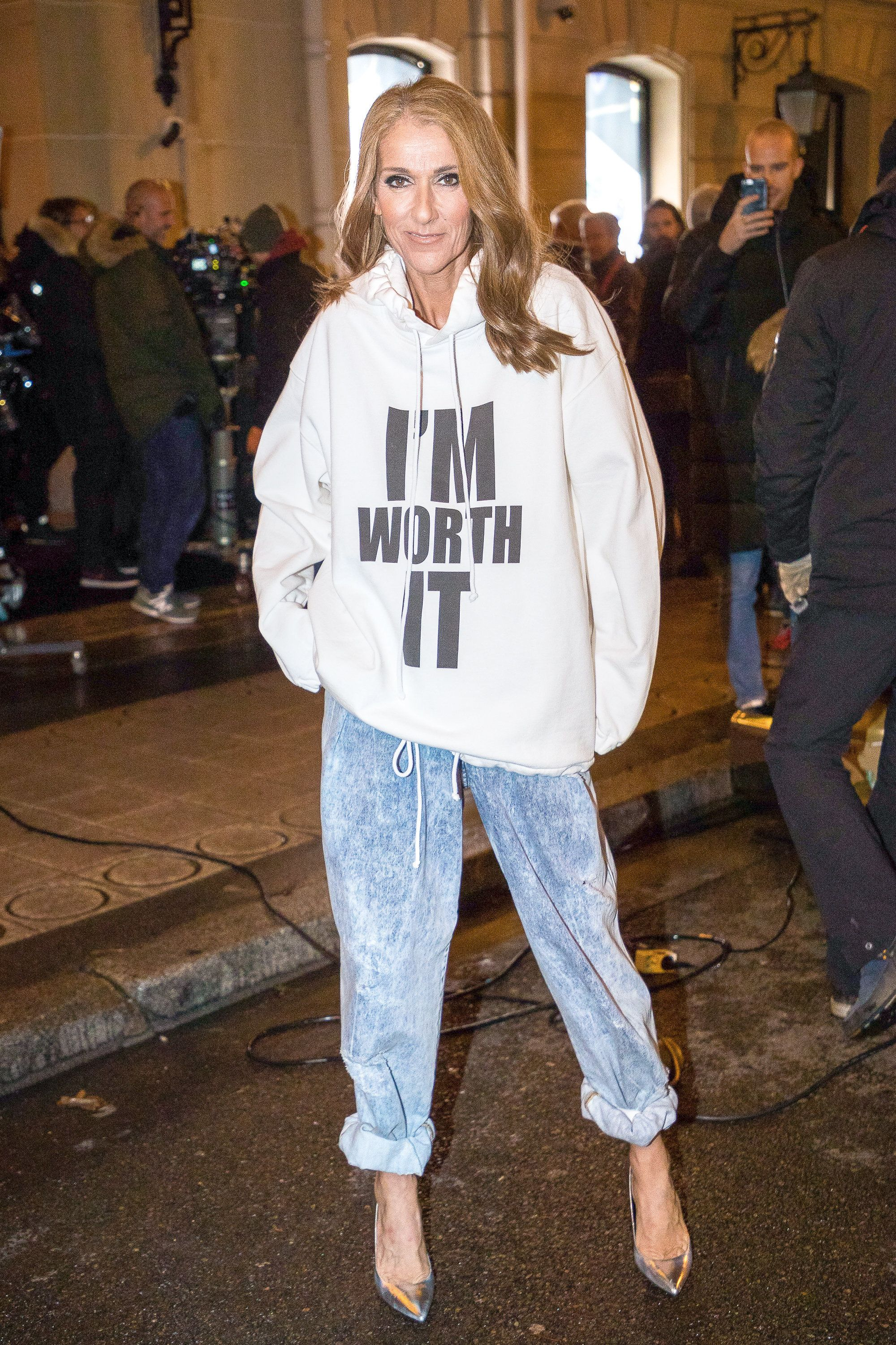 PARIS, FRANCE - JANUARY 30: Singer Celine Dion is seen on the set of 'L'Oreal Excellence' at Hotel Plaza Athenee on Avenue Montaigne on January 30, 2019 in Paris, France. (Photo by Marc Piasecki/GC Images)