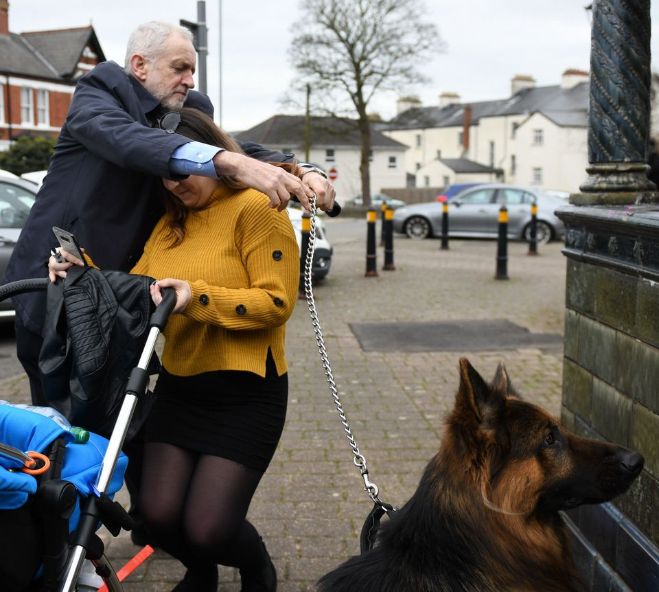 Corbyn was seen posing for photographs in the centre of Newport on