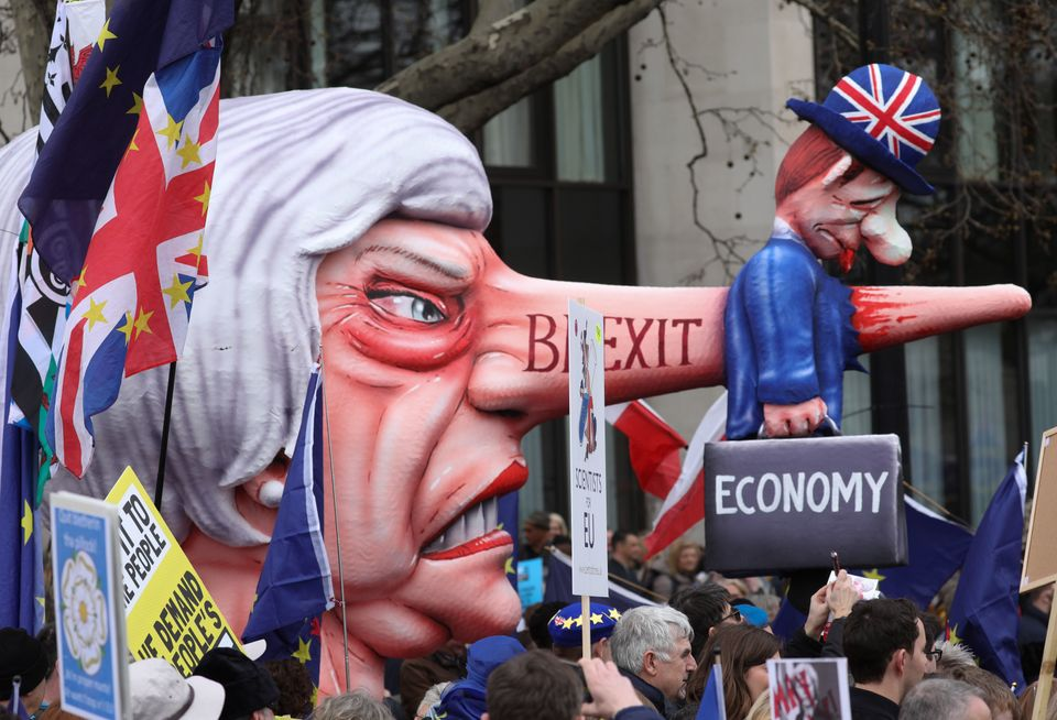Demonstrators are marching in support of a further Brexit