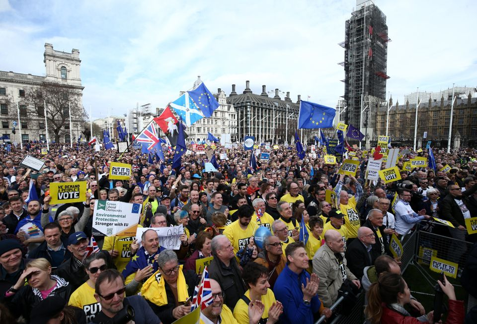 Protestors crowd Westminster's Parliament Square on