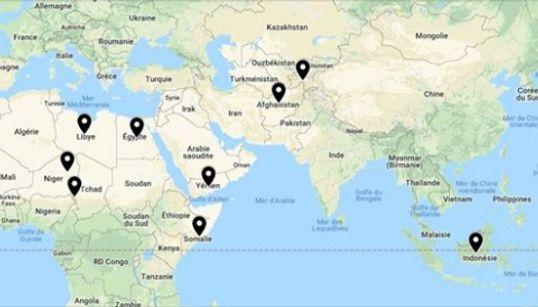 La carte des pays où Daech reste encore