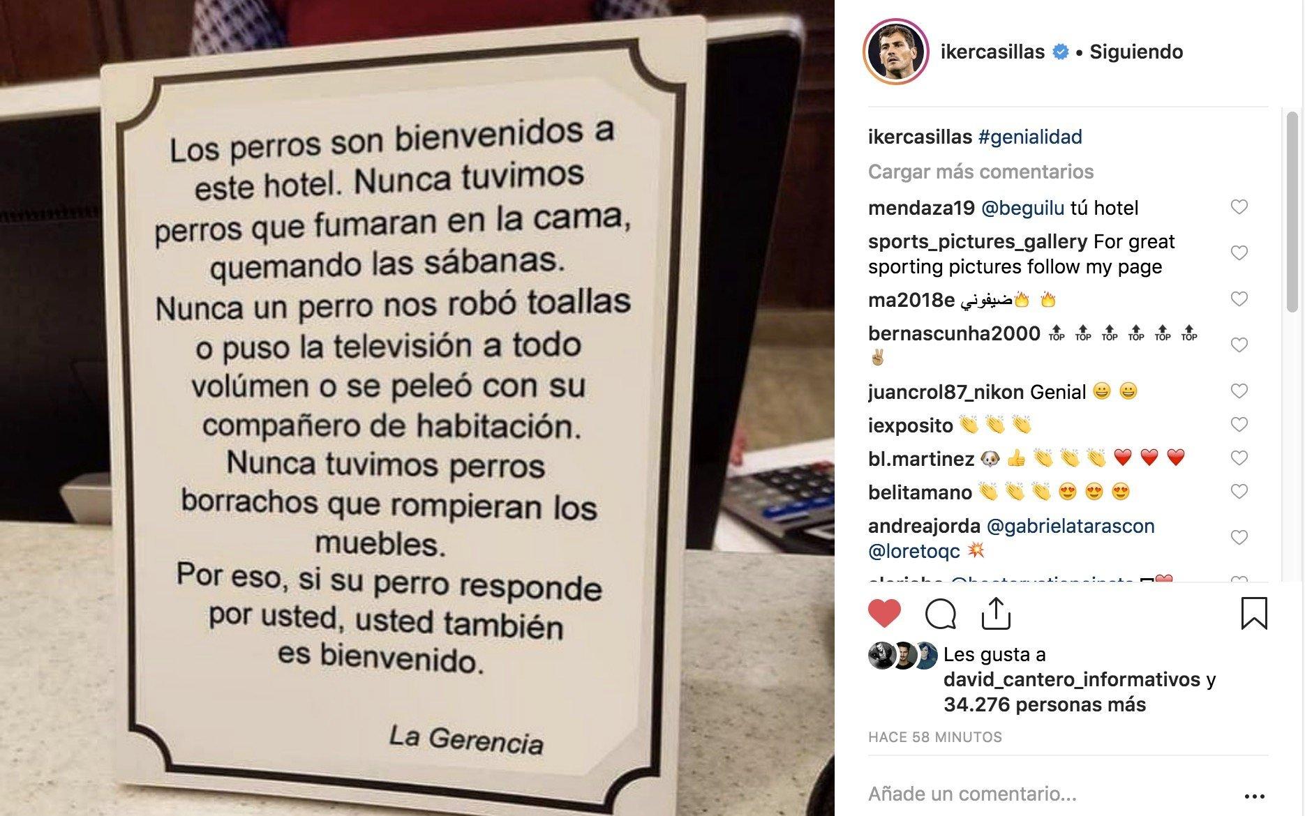 Iker Casillas difunde esta genialidad de un hotel de