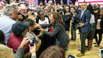 Kamala Harris greets supporters in Houston, Texas.