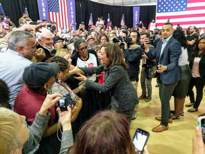 Kamala Harris greets supporters at Texas Southern University in Houston.