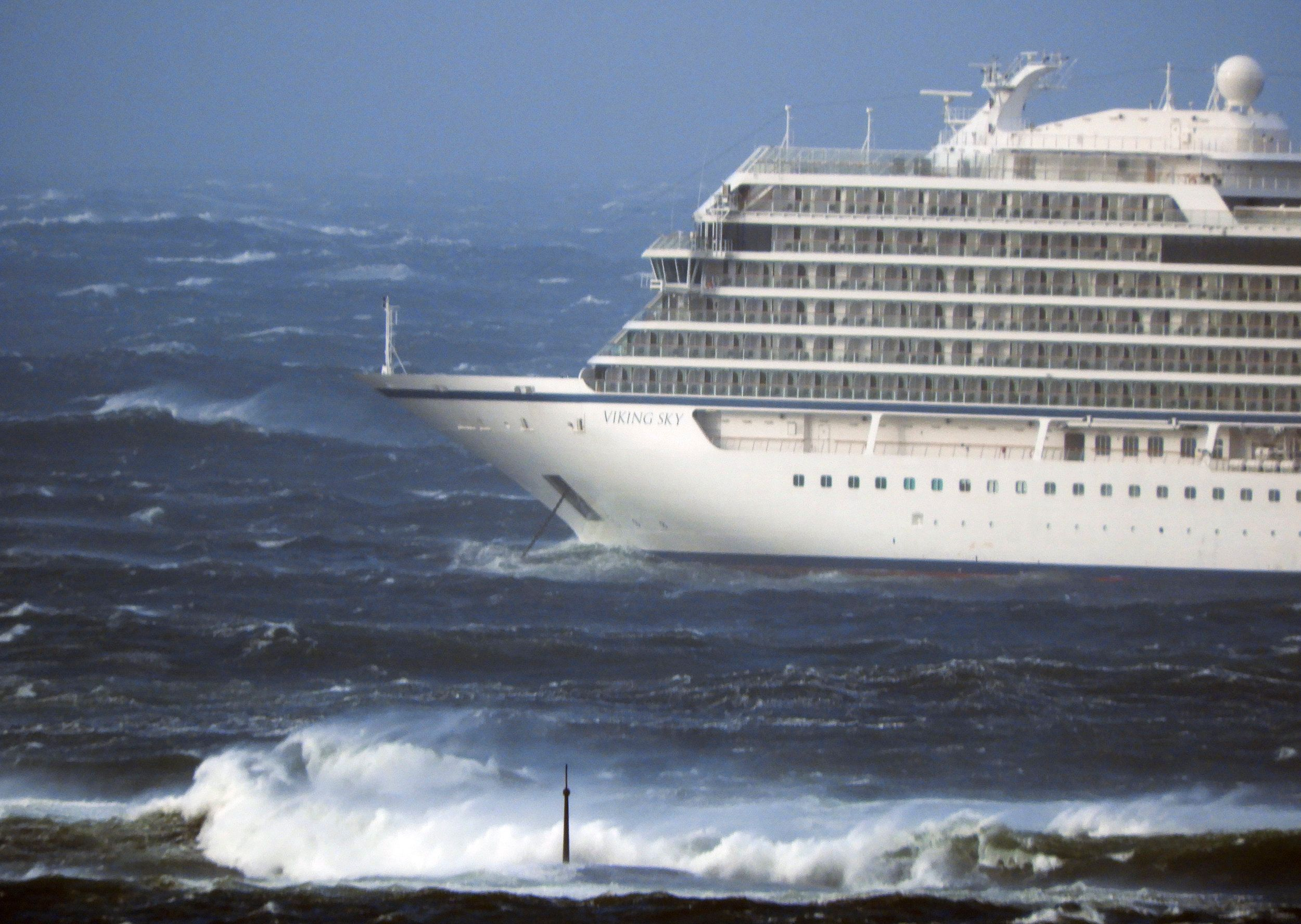 Hustadvika, Norway  20190323. Cruise ship Viking Sky is drifting towards land and had sent out a mayday signal. I has a engine failure in windy conditions off the west coast of Norway and will evacuate its 1,300 passengers, Photo: Frank Einar Vatne / NTB scanpix