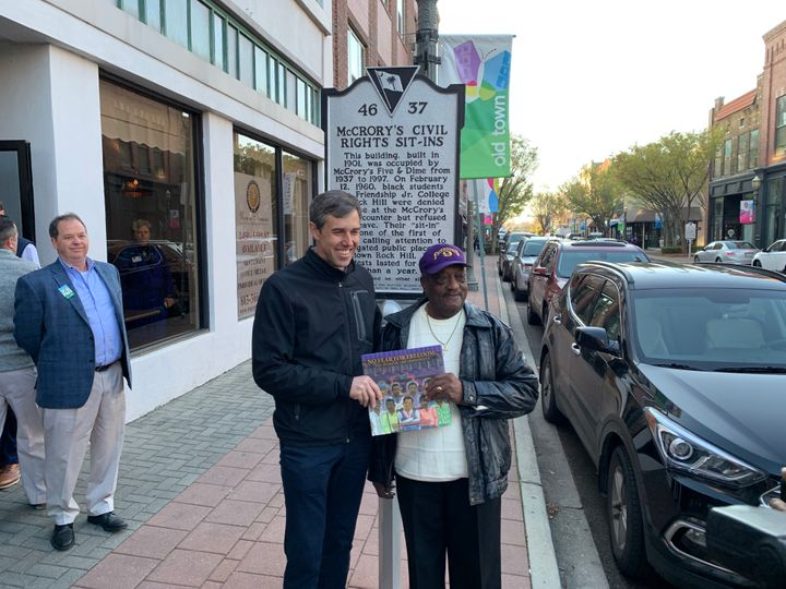 Beto O'Rourke meets Willie McLeod, one of the Friendship Nine, in Rock Hill, South Carolina.